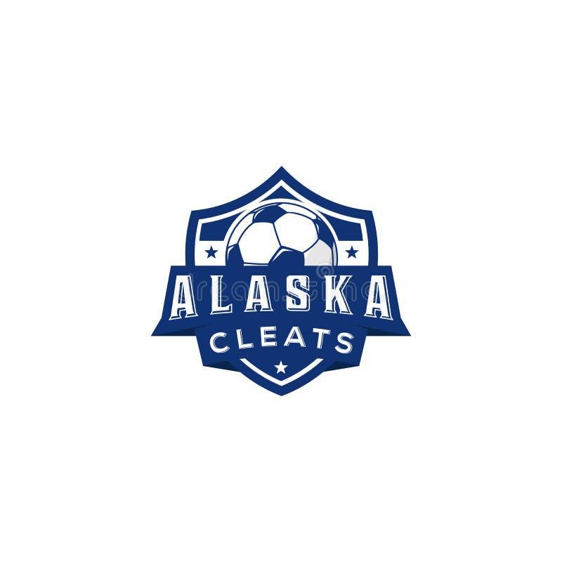 Emblema del club di calcio di vettore Icona o insegne della palla di campionato della partita di football americano per la tazza  illustrazione di stock