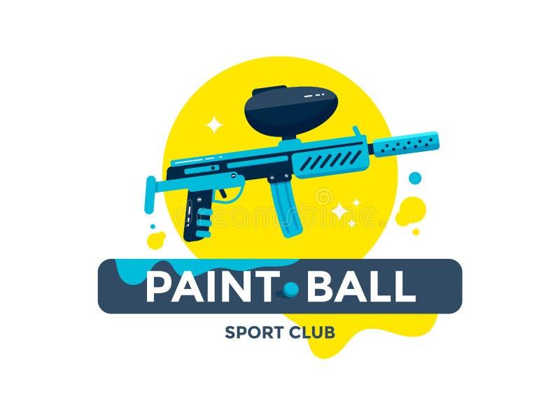 Emblema del club di sport di paintball o progettazione di logo illustrazione di stock