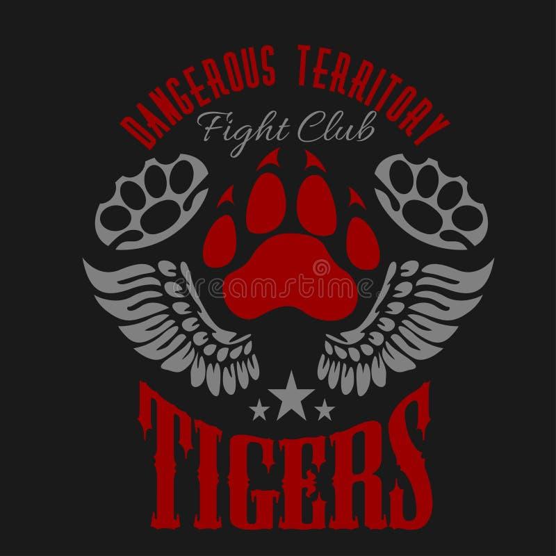 Emblema del club que lucha - huella y alas del tigre libre illustration