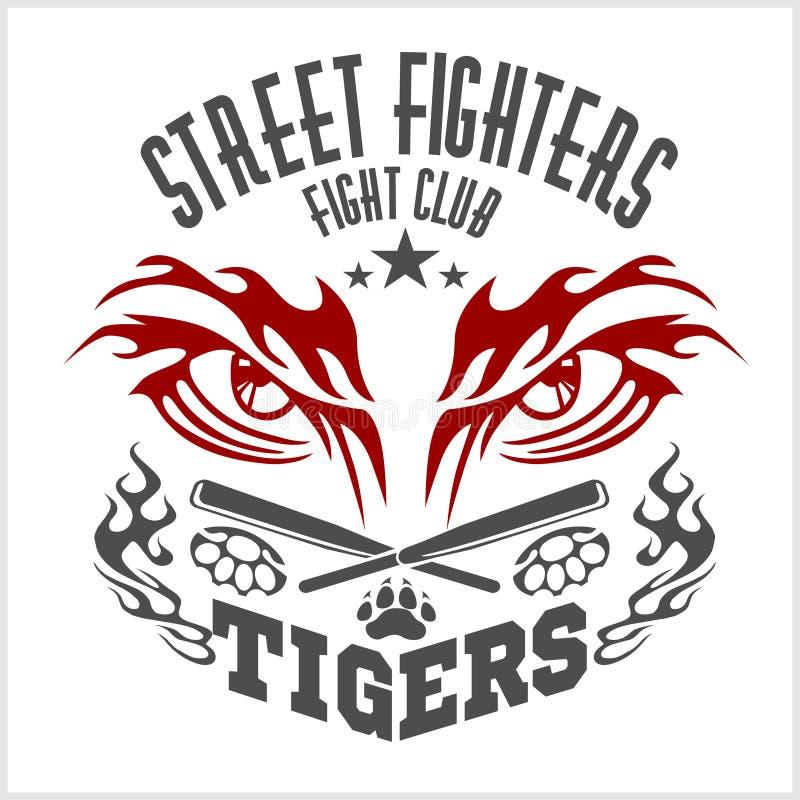 Emblema del club que lucha - ojo del tigre Etiquetas, insignias ilustración del vector