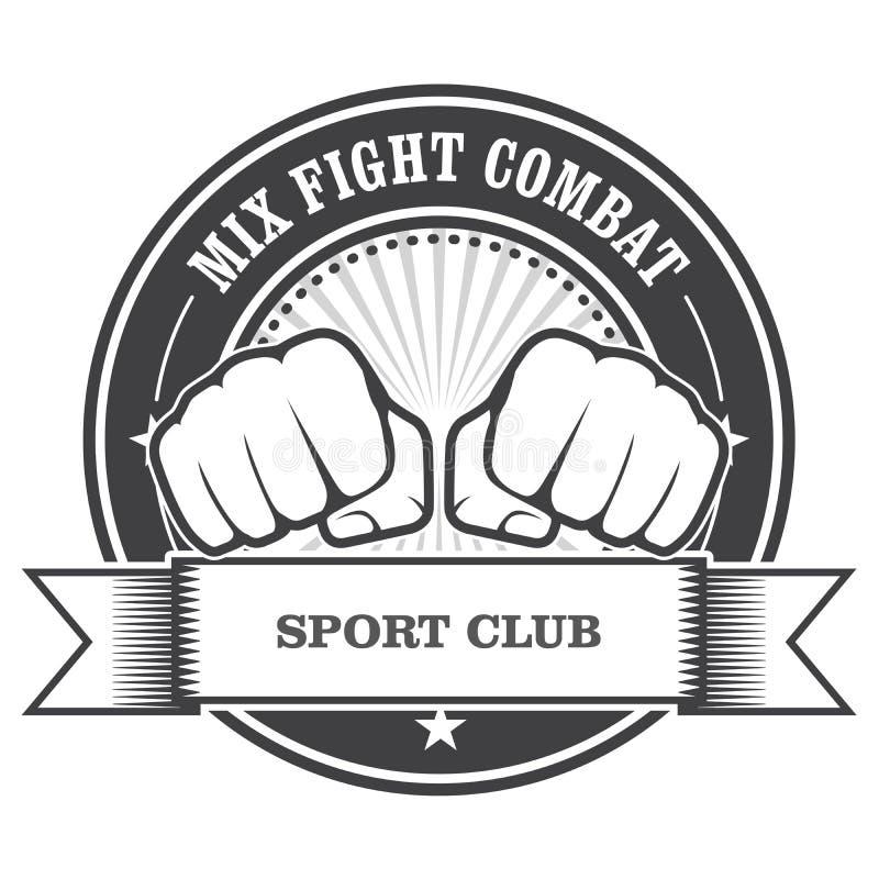 Emblema del combate de la lucha de la mezcla - puños stock de ilustración