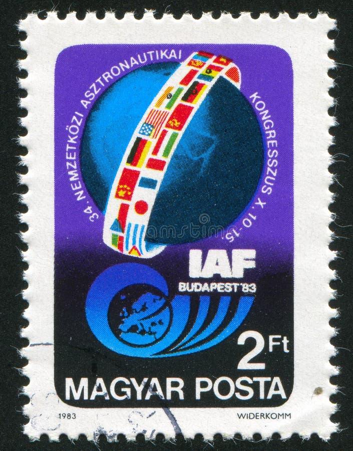 Emblema del congreso astronáutico de la federación foto de archivo