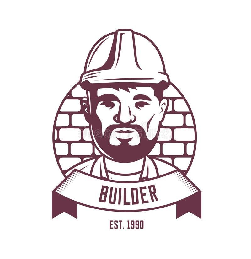 Emblema del constructor en un fondo de la pared de ladrillo con la cinta LOGOTIPO libre illustration