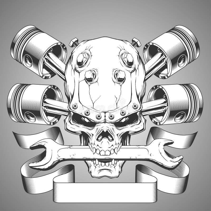 Emblema del cráneo del motor ilustración del vector