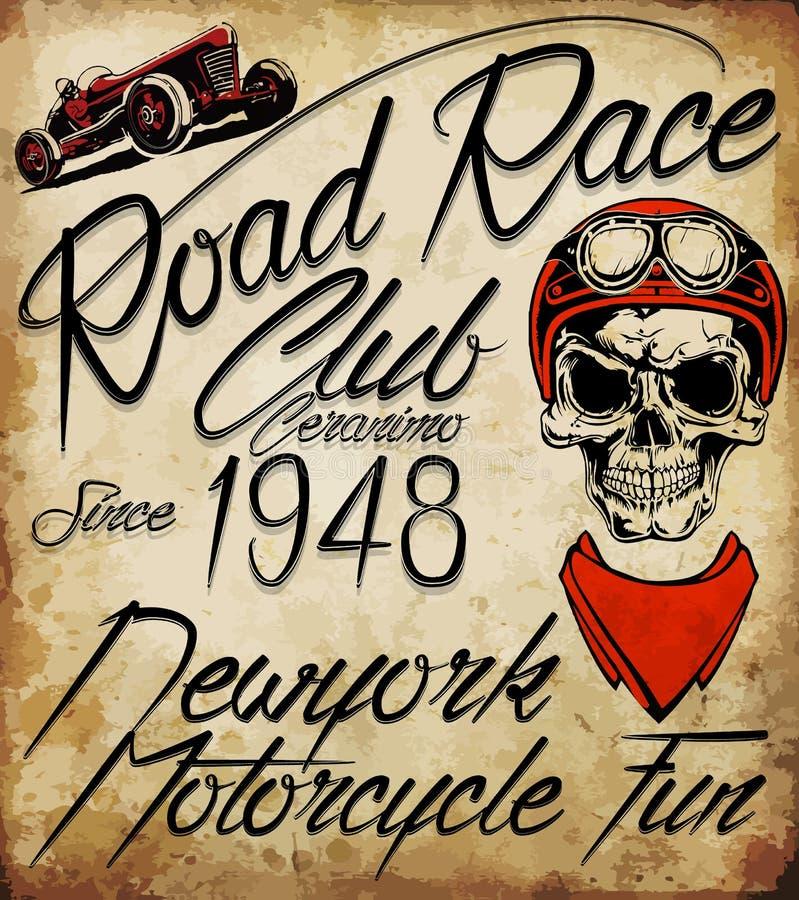 Emblema del cráneo del motorista del vintage libre illustration