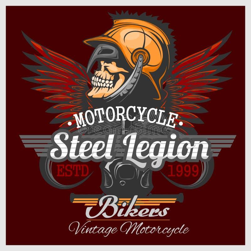 Emblema del cráneo del motorista del vintage ilustración del vector
