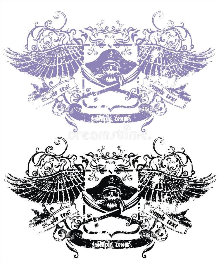 Emblema del cráneo del vector imágenes de archivo libres de regalías