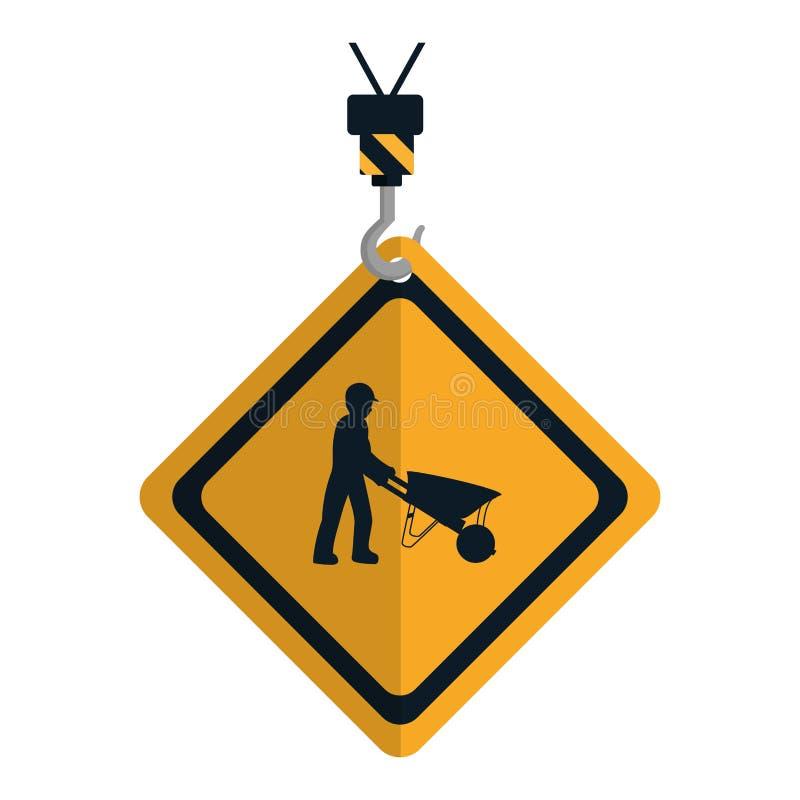 Emblema del diamante de la precaución con el trabajador y la carretilla stock de ilustración