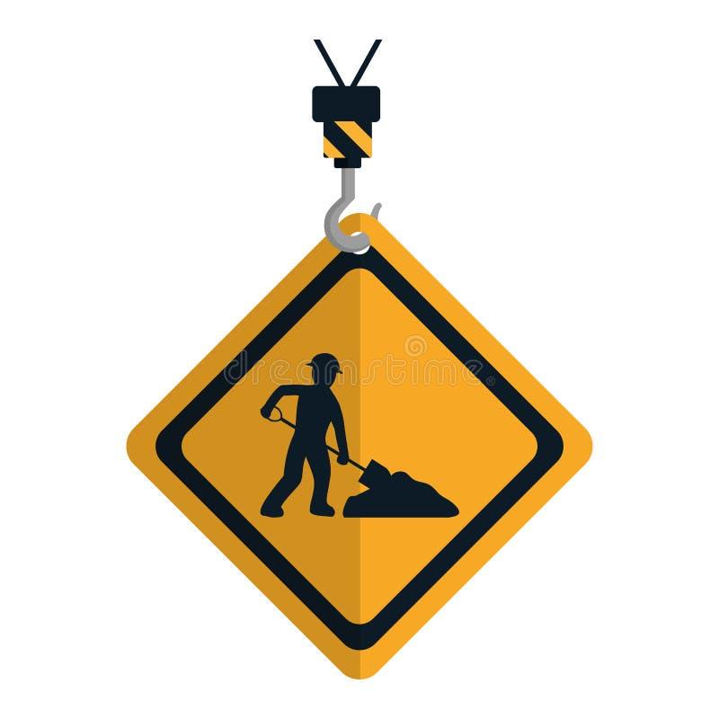 Emblema del diamante de la precaución con el trabajador y la pala stock de ilustración