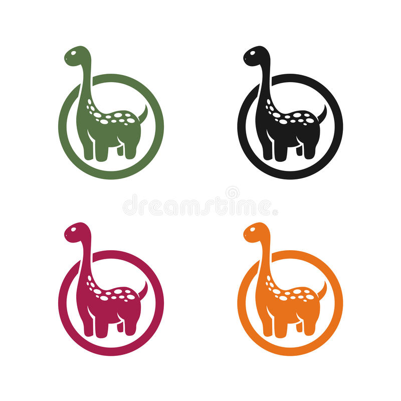 Emblema del dinosauro su un fondo bianco immagini stock