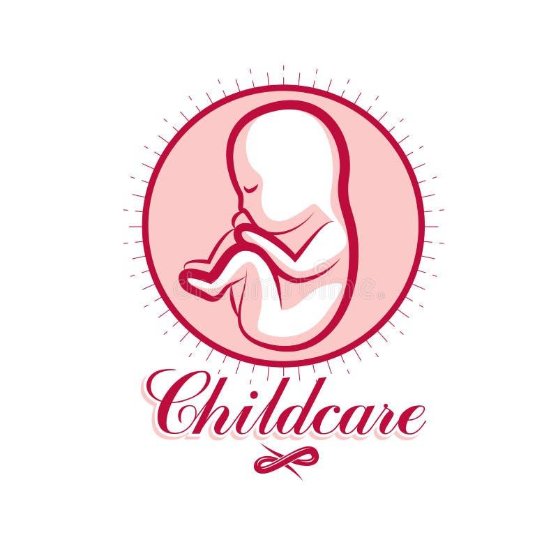 Emblema del embrión del vector Nuevo dibujo del principio de la vida libre illustration