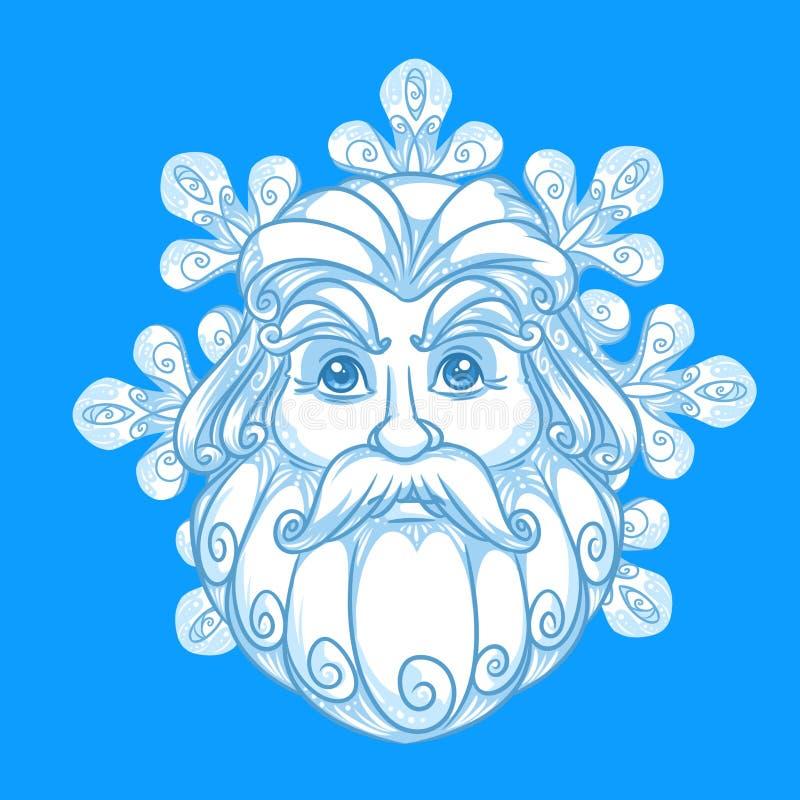 Emblema del fiocco di neve del ritratto di Santa Claus della neve royalty illustrazione gratis
