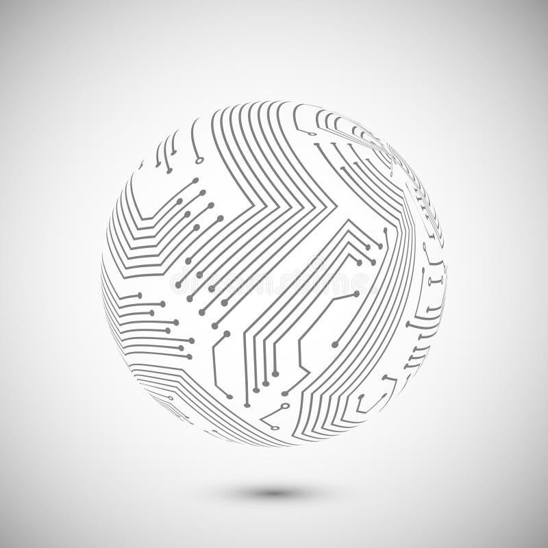 Emblema del globo de la placa de circuito stock de ilustración