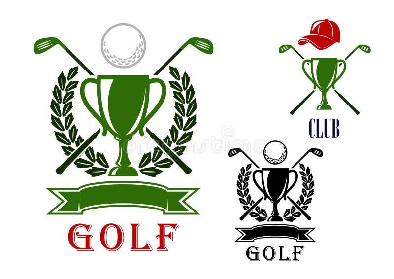 Emblema del golf y plantillas del diseño de las insignias ilustración del vector