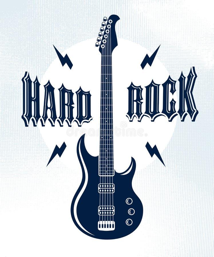 Emblema del hard rock con l'etichetta di logo di vettore della chitarra elettrica, di festival di concerto o del night-club, illu illustrazione vettoriale