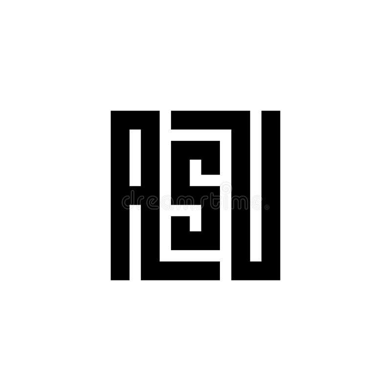 Emblema del logotipo de la letra inicial ASU, diseño blanco y negro del color para la marca - vector ilustración del vector
