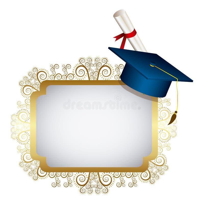 emblema del metallo dell'oro con il cappello ed il diploma di graduazione royalty illustrazione gratis
