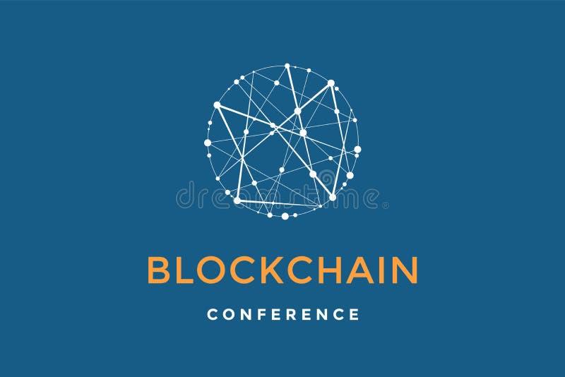 Emblema del modello per tecnologia del blockchain illustrazione vettoriale