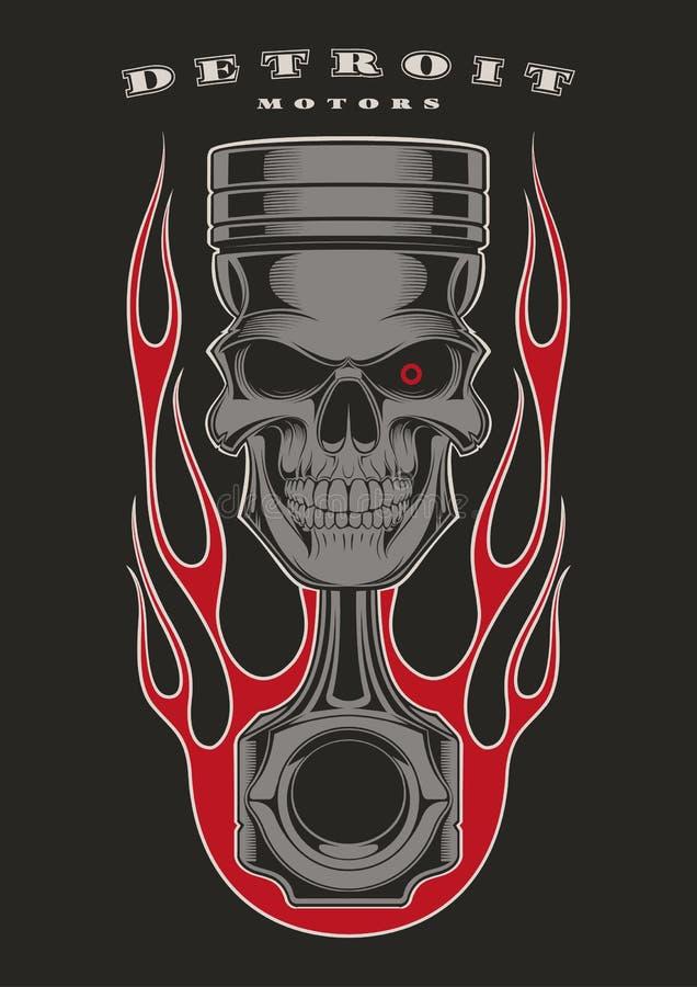 Emblema del motorista del pistón del cráneo stock de ilustración