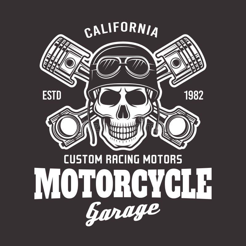 Emblema del motorista del vector de la motocicleta con el cráneo en oscuridad ilustración del vector