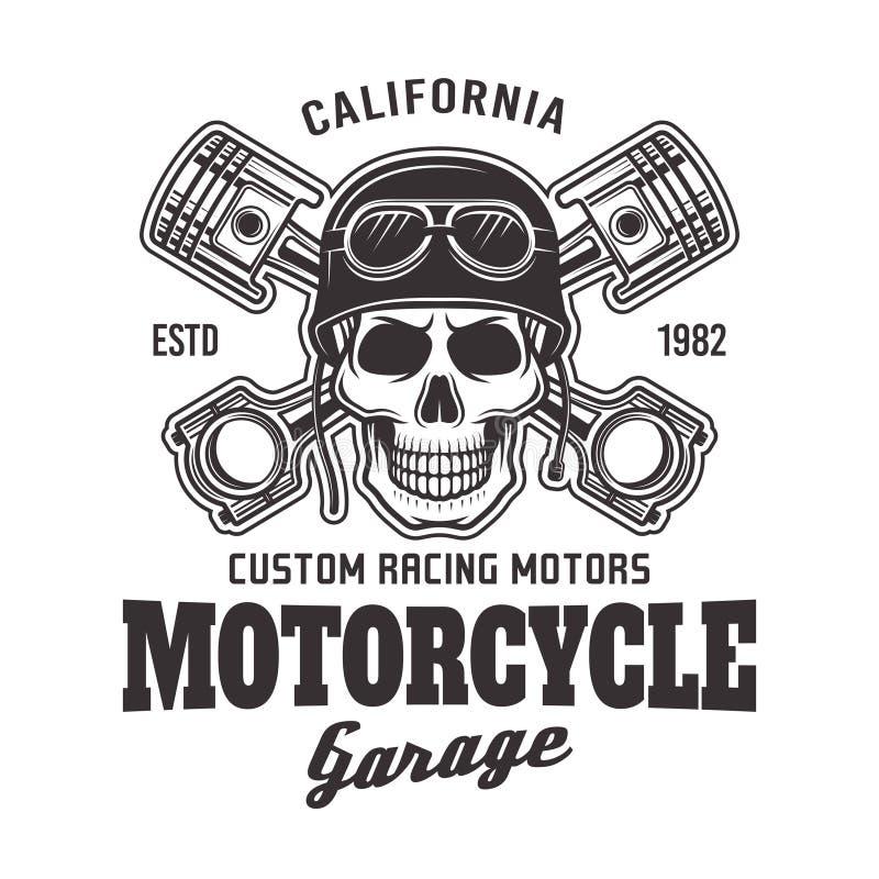 Emblema del motorista del vector del garaje de la motocicleta con el cráneo libre illustration