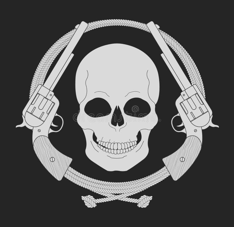Emblema del oeste salvaje Cráneo y pistolas en marco del lazo ilustración del vector