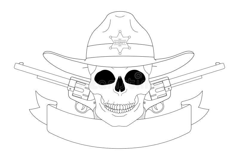 Emblema del oeste salvaje del sheriff contorno stock de ilustración