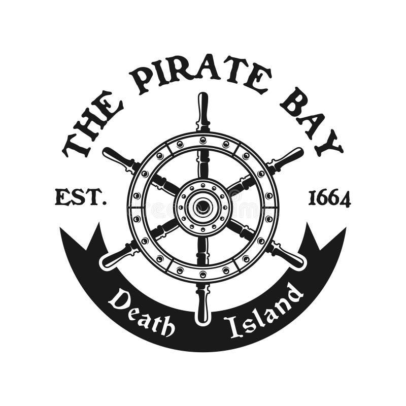 Emblema del pirata del vector de la rueda del timón en estilo del vintage libre illustration