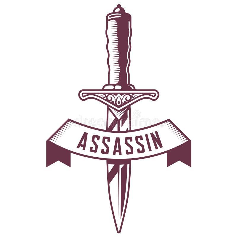 Emblema del pugnale con il nastro su fondo bianco royalty illustrazione gratis