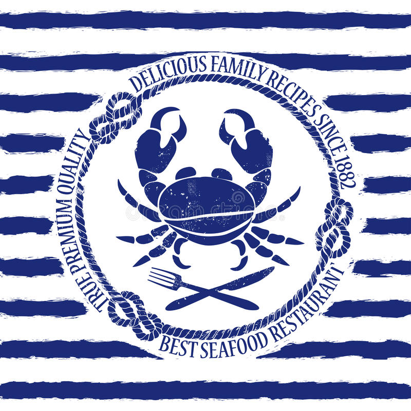 Emblema del restaurante de los mariscos con el cangrejo ilustración del vector