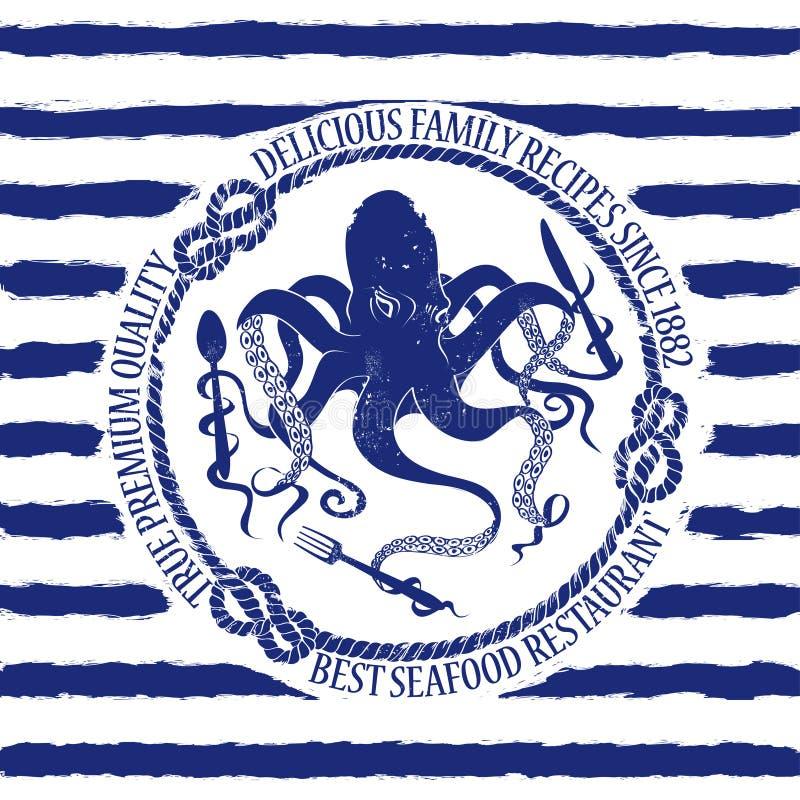 Emblema del restaurante de los mariscos con el pulpo libre illustration