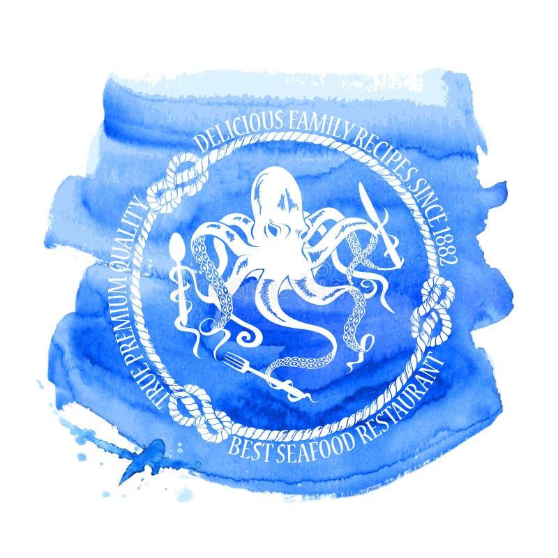 Emblema del restaurante de los mariscos con el pulpo stock de ilustración