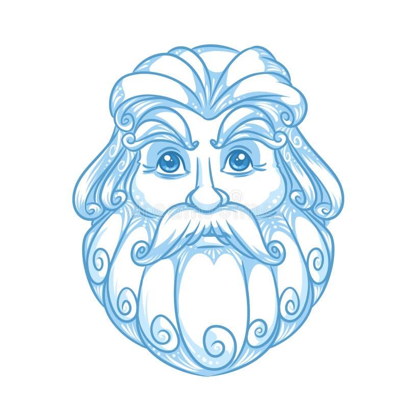 Emblema del ritratto di Santa Claus della neve royalty illustrazione gratis