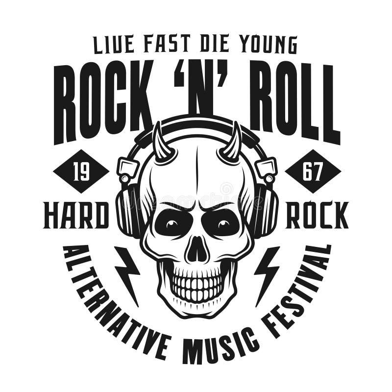 Emblema del rotolo della roccia n con il cranio del diavolo royalty illustrazione gratis