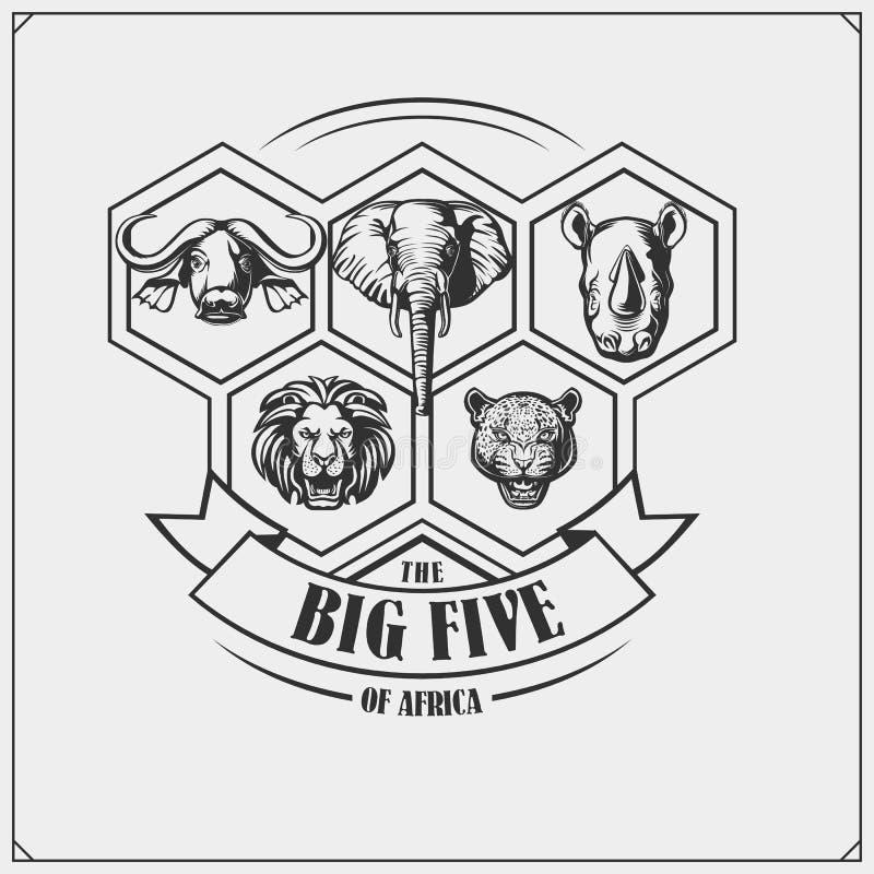 Emblema del safari con los cinco animales grandes León, elefante, rinoceronte, leopardo y búfalo stock de ilustración