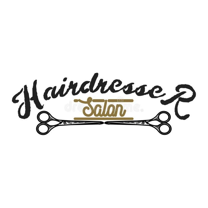 Emblema del salón del peluquero del vintage del color ilustración del vector