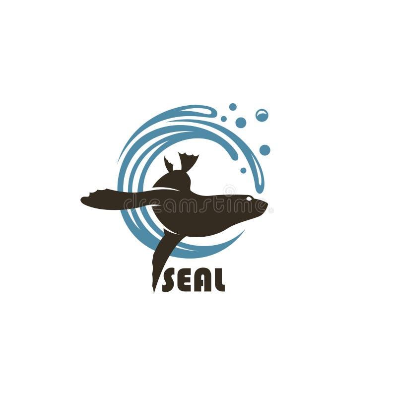 Emblema del sello del mar stock de ilustración