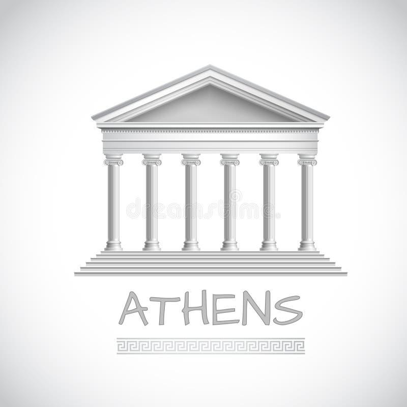 Emblema del templo de Atenas stock de ilustración