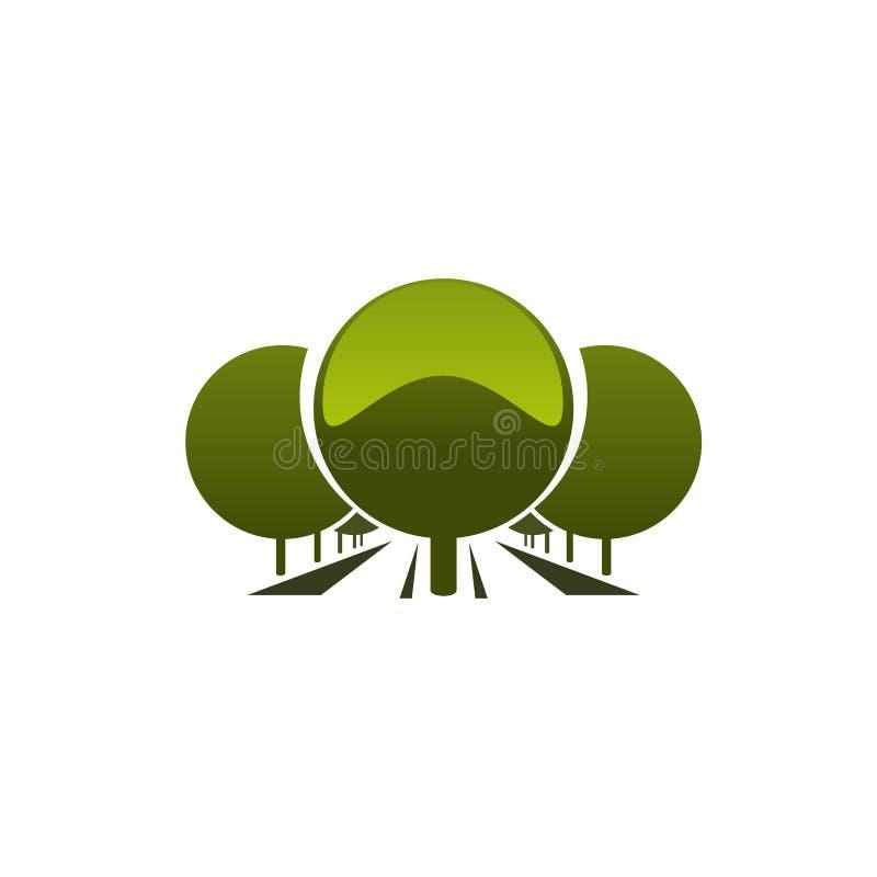 Emblema del vector con los árboles verdes ilustración del vector