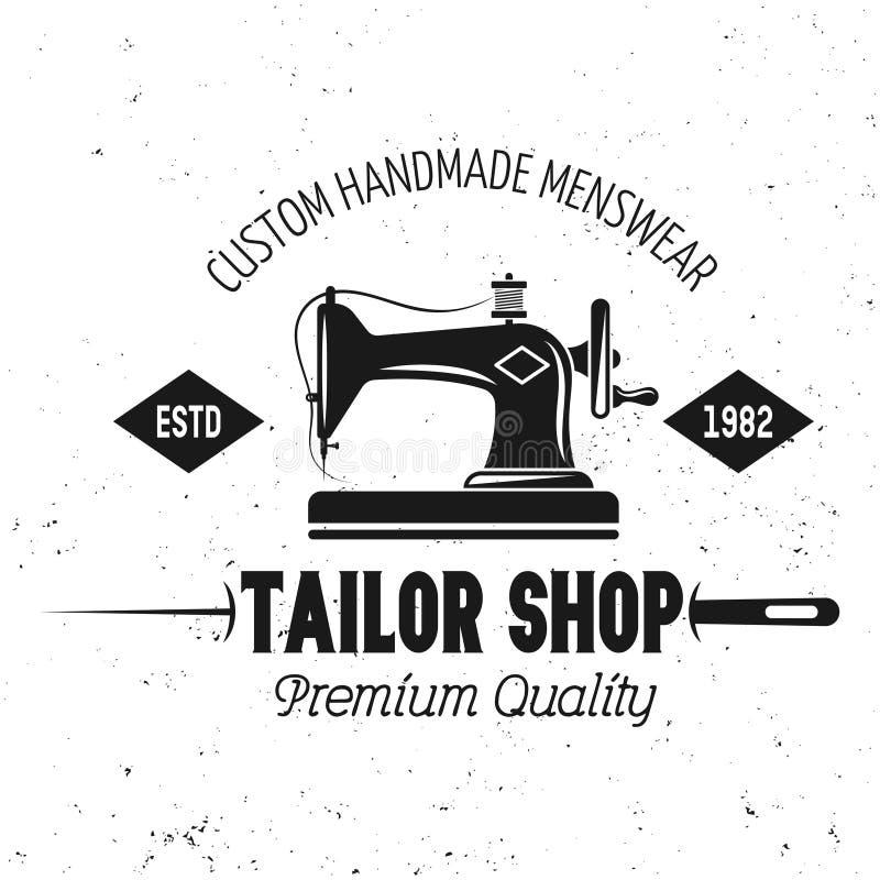 Emblema del vector de la tienda del sastre con la máquina de coser ilustración del vector