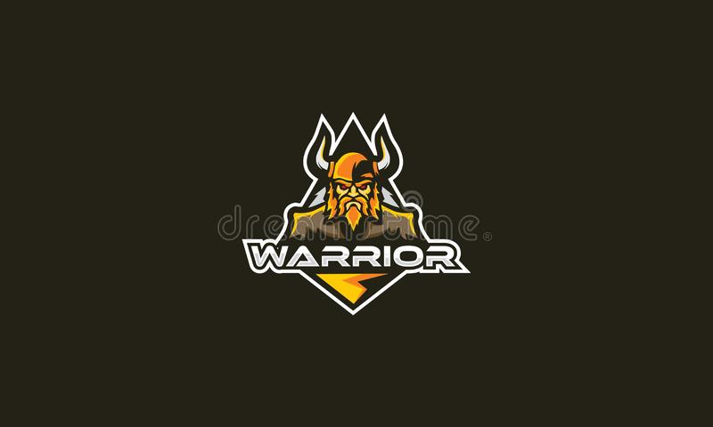 Emblema del vector del icono del logotipo del guerrero libre illustration