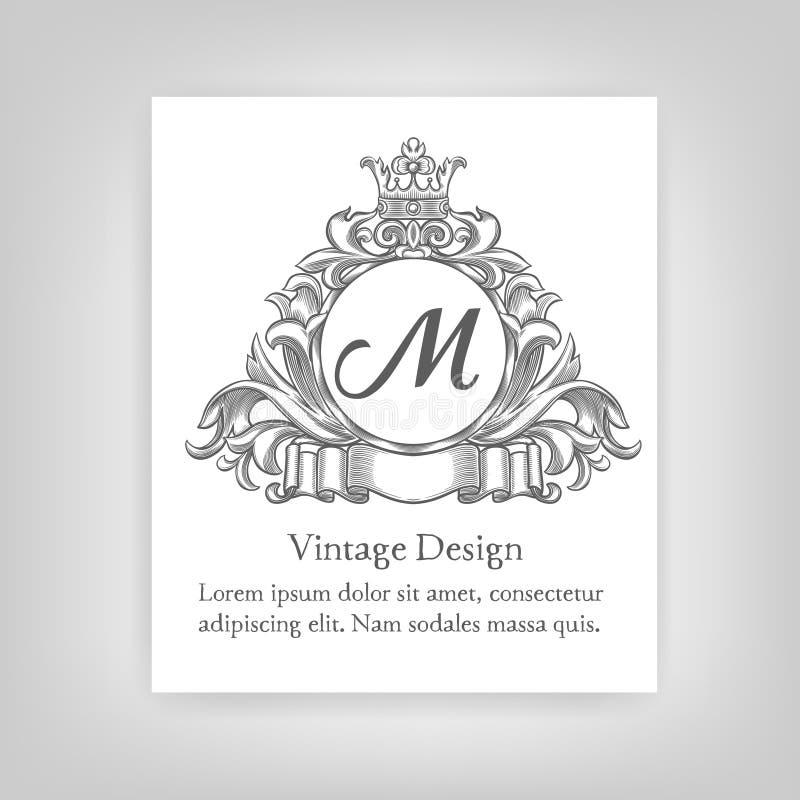 Emblema del vintage, monograma libre illustration