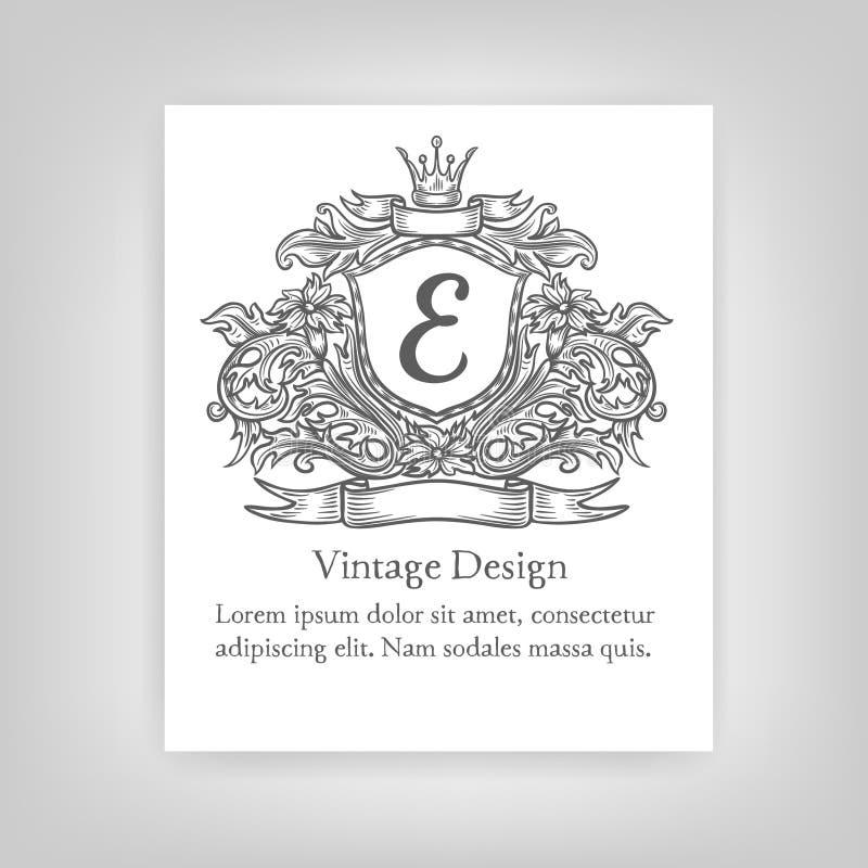 Emblema del vintage, monograma stock de ilustración