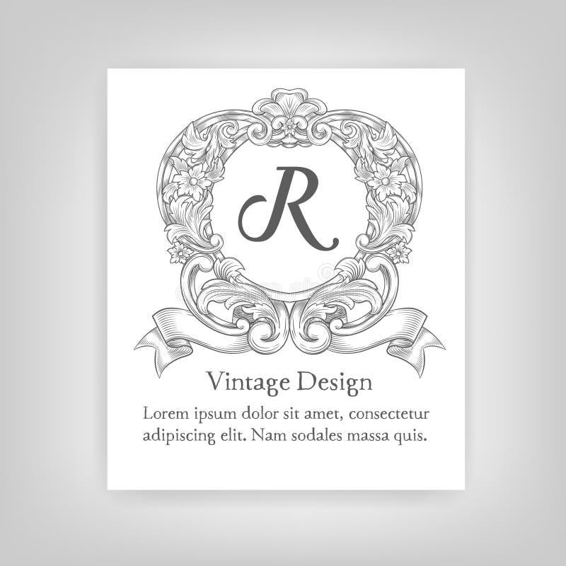 Emblema del vintage, monograma ilustración del vector