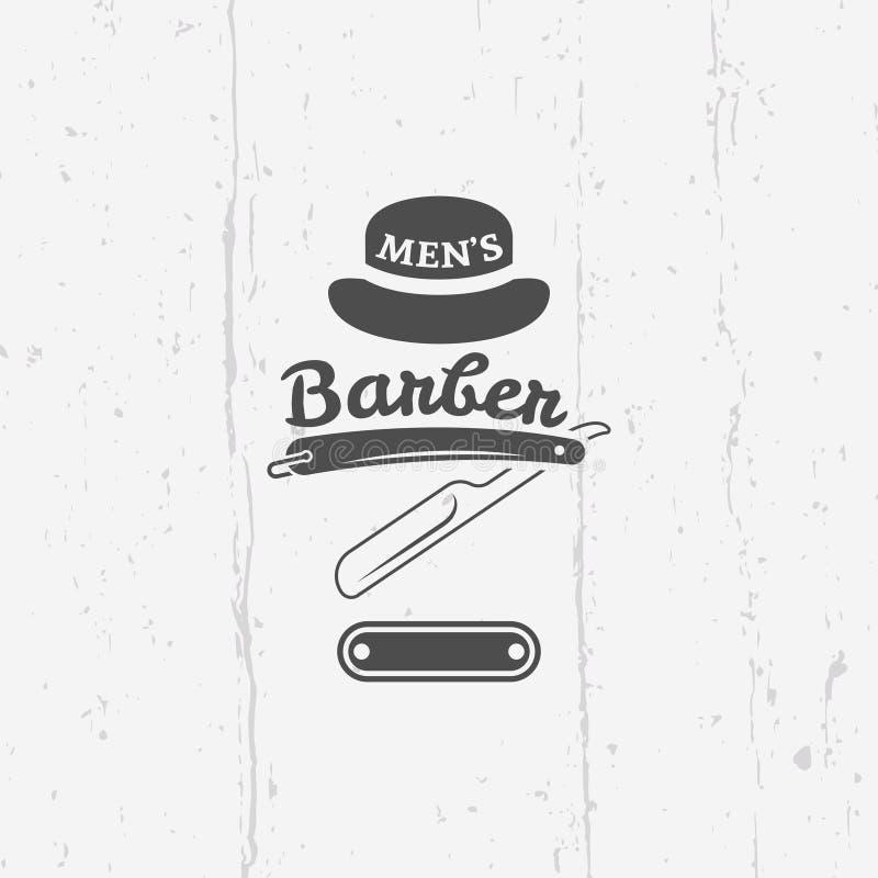 Emblema del vintage del vector de la maquinilla de afeitar recta de la peluquería de caballeros stock de ilustración