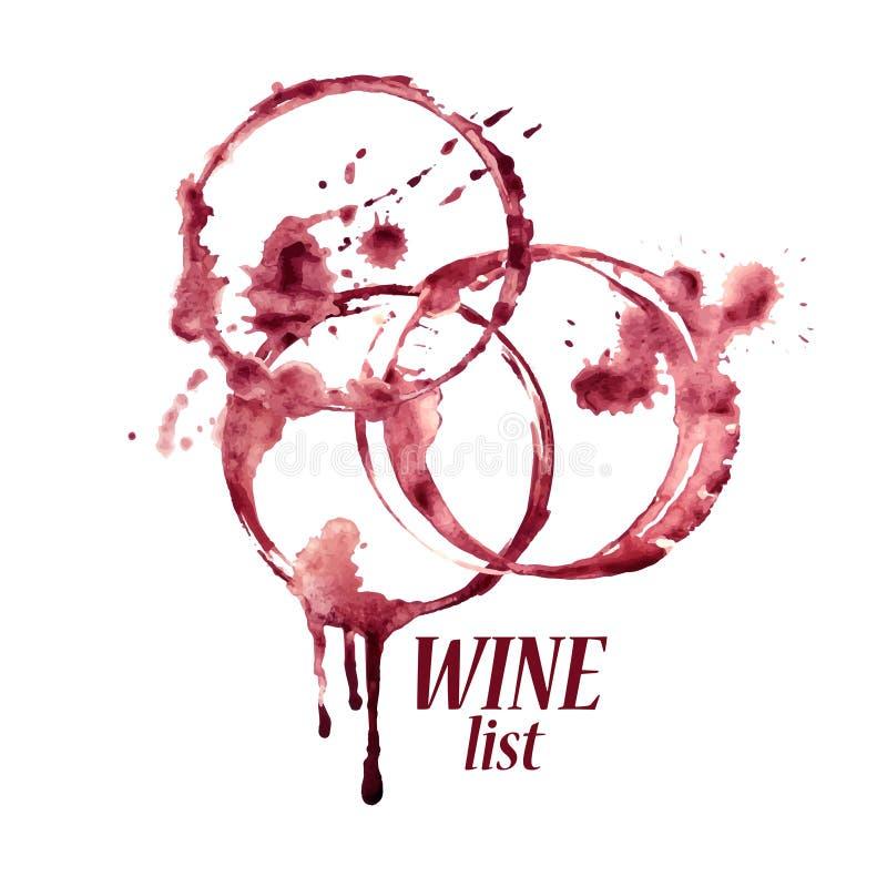 Emblema dell'acquerello con le macchie del vino illustrazione vettoriale
