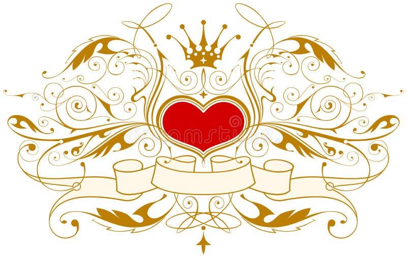 Emblema dell'annata con cuore illustrazione vettoriale