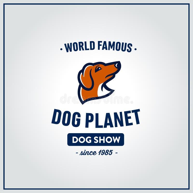 Emblema dell'annata della testa di cane del bassotto tedesco royalty illustrazione gratis