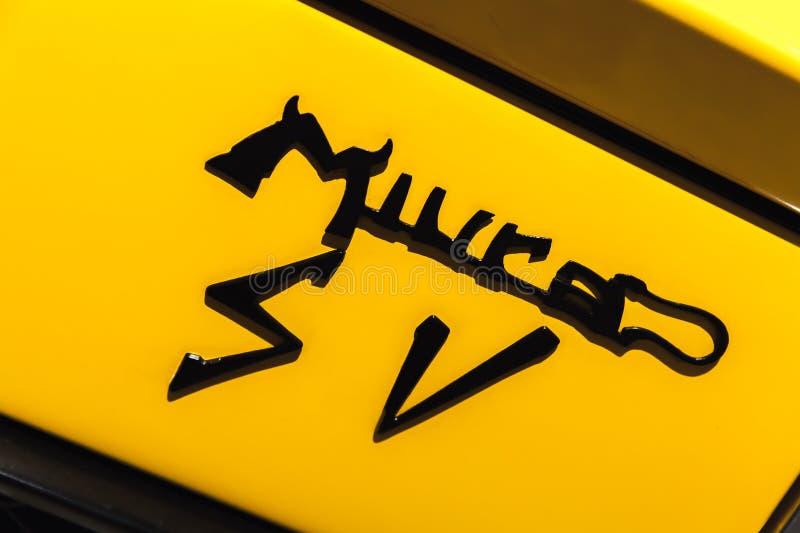 Emblema dell'automobile sportiva di Lamborghini Miura fotografia stock libera da diritti