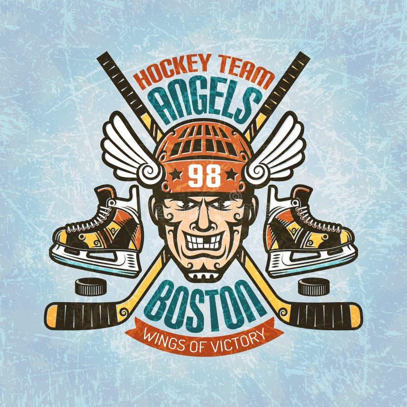 Emblema dell'hockey con il giocatore illustrazione vettoriale